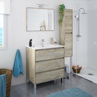 Dmora Meuble sous lavabo à trois tiroirs et un miroir, couleur chêne alaska, cm 80 x 86 x 45.