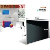 Chauffage mural GLASS HEAT,500W,verre noir / Chauffage électrique BURDA - BHPGH6090500SW.
