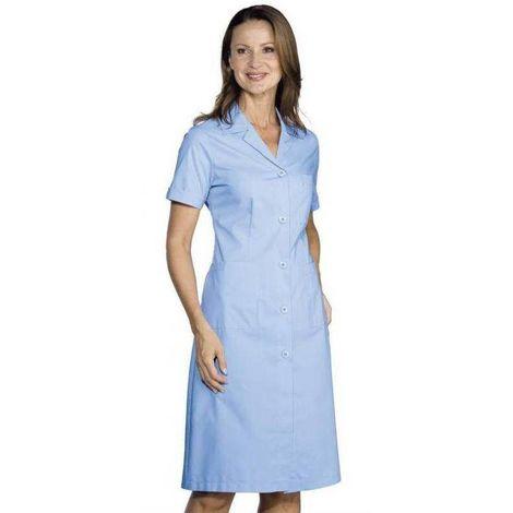 DONNA Blouse de travail femme légère à manches courtes et à boutons 125g/m² Ciel - T. L - Isacco