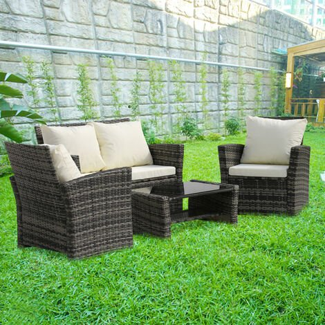 Rattan Garden Sofa Furniture Sets Patio Conservatory 4 Seaters Armchairs Table wish Cushion - Grey