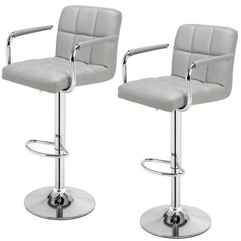 2 pcs Height Adjustable Swivel Bar Stool Bar Chair With Backrest - Grey