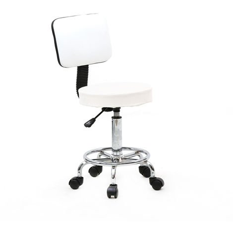 Boss Office Products Spa Drafting Stool with Back - White