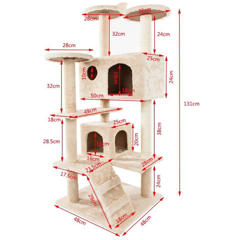 """52"""" Pet Cat Tree Play Tower Bed Furniture Scratch Post Tunnel Toy Mouse Pet Kitty Play House - Beige"""