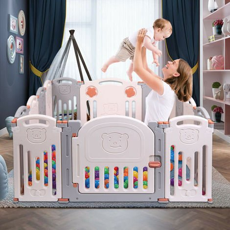 16 Panels Foldable ABST Baby Playpen Kids Activity Safety Play Yard Pen