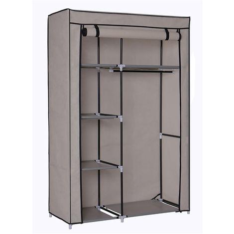Large Fabric Canvas Wardrobe+Hanging Rail Shelf Cloth Storage Cupboard Closet - Grey