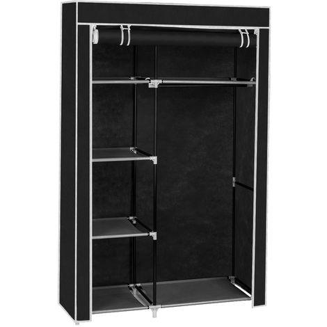 Large Fabric Canvas Wardrobe+Hanging Rail Shelf Cloth Storage Cupboard Closet - Black
