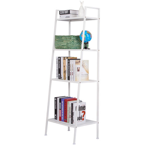 4-Tier Vintage Ladder Shelf Bookcase Storage Rack Stand Plants Display - White