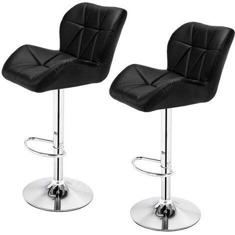 2pcs Oblique Checks Bar Stool /Kitchen Round Back Cushion Bar Stool-Black