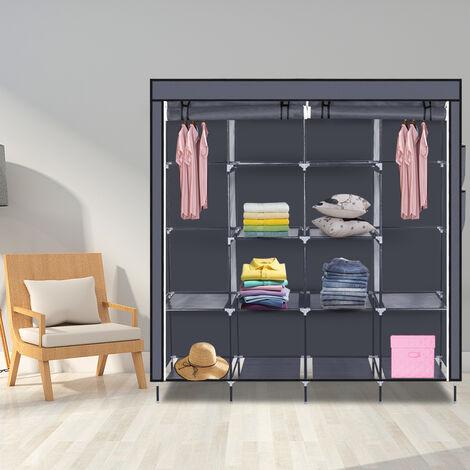 "67"" Clothes Closet Portable Wardrobe Clothes Storage Rack 12 Shelves 4 Side Pockets-Brown"