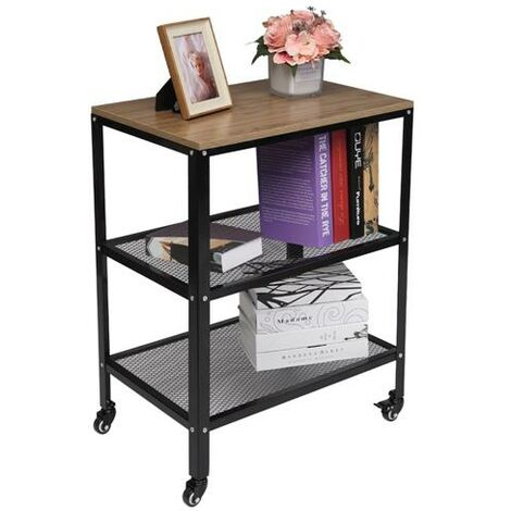 3-Tier Kitchen Microwave Cart, Rolling Kitchen Utility Cart, Standing Bakers Rack Storage Cart with Metal Frame for Living Room-Grey