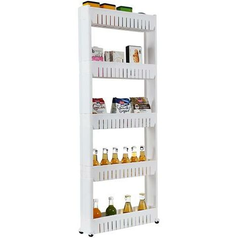 5 Tier Mobile Shelving Unit Organizer Slide Out Storage Tower Slim Storage Tower Rack with Wheels Pull Out Pantry Shelves Cart for Kitchen Bath Room Narrow Spaces-White