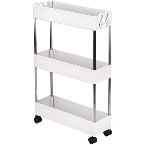 3-Layer Ultra-thin, Mobile Multi-Functional Slim Storage Cart,Suitable for Kitchen, Bathroom, Laundry Room Narrow Place, Plastic and Stainless Steel, White
