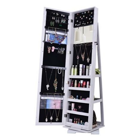 360 Degree Rotation Full-Body Mirror Cabinet PVC Film Moisture-Proof Dressing Mirror Cabinet Super Storage Jewelry Storage Mirror Cabinet White