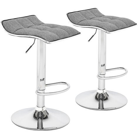 2 Soft-Packed Square Board Curved Foot Bar Stools Cotton And Linen Fabric Dark-Gray