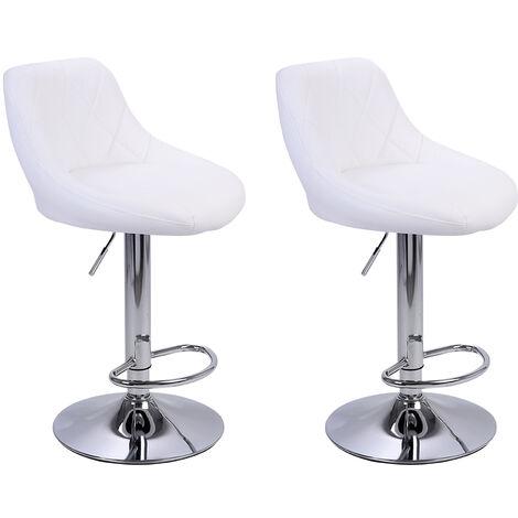 2Pcs Adjustable High Type with Disk No Armrest Rhombus Backrest Design Bar Stools White - White