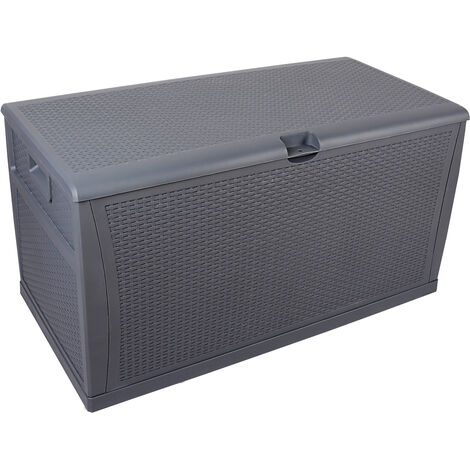 120gal 460L Outdoor Garden Plastic Storage Deck Box Chest Tools Cushions Toys Lockable Seat Waterproof - Grey