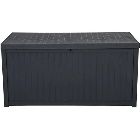 113gal 430L Outdoor Garden Plastic Storage Deck Box Chest Tools Cushions Toys Lockable Seat Waterproof - Black