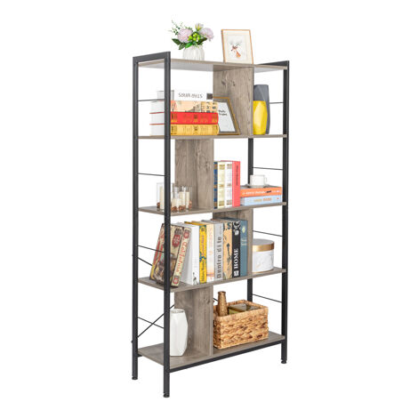 4 Tier Industrial Bookshelf, Floor Standing Storage Rack in Living Room Office Study, Large Storage Space, Simple Assembly, Stable Steel Frame, Gray