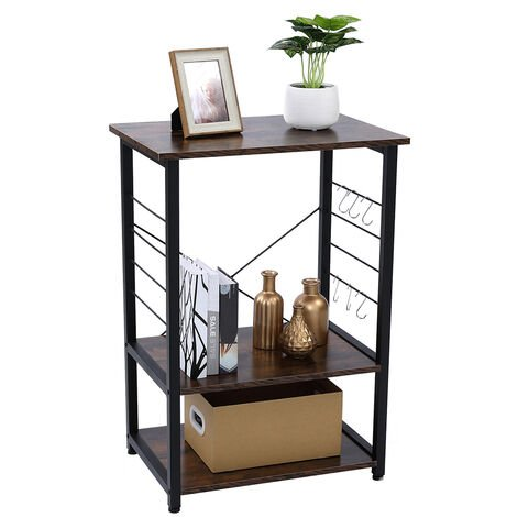 Vintage Kitchen Storage Shelf,Microwave Oven Stand with Metal Frame and 6 Hooks, Multifunctional Shelves in the Kitchen, Living Room