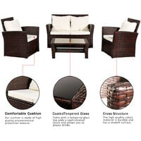 Rattan Garden Sofa Furniture Sets Patio Conservatory 4 Seaters Armchairs Table wish Cushion - Brown