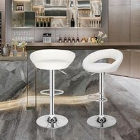 2 pcs Bar & Kitchen Stool With Chromed Steel Frame And PU Leather Seat - Whtie