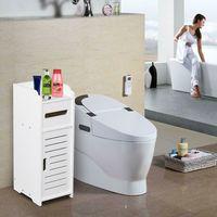 White Wooden Single Door Bathroom Storage Cupboard Cabinet Standing Unit