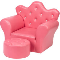 Kids Children Sofa Seat Armchair Lounger Couch Furniture with Footstool - Rose Red