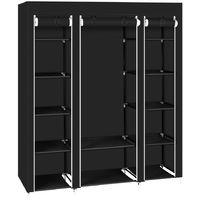 Canvas Wardrobe Bedroom Furniture Cupboard Clothes Storage Organiser - Black