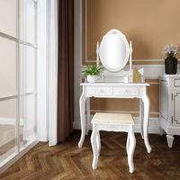Dressing Table 4-Drawer Makeup 360-Degree Rotation Removable Mirror Dresser