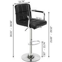 2pcs SSJ-891 60-80cm 6 Checks Round Cushion Bar Stools with Armrest Black