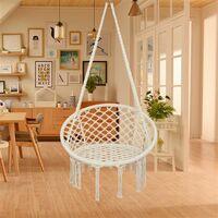 Round Tassel Hanging Chair - Garden Swing Seat, Hanging Egg Chair, Garden Swing Chair Beige