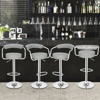2pcs High-grade Bar Stool/Kitchen Round Back Cushion Bar Stool-Grey