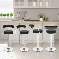 2pcs High-grade Bar Stool/Kitchen Round Back Cushion Bar Stool-Black