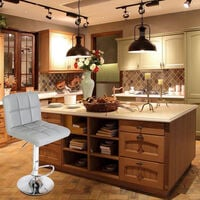 2pcs 60-80cm Bar Stools Kitchen Stools 6 Checks Round Cushion No Armrest Gray