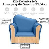 Children Single Sofa Kids Sofa Chair Bent Back -Blue