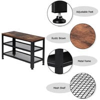 Industrial Shoe Bench, 3-Tier Shoe Rack, Storage Organizer with Seat for Entryway, Living Room, Hallway