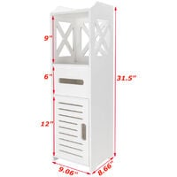 Waterproof Single Door Two Tier Bathroom Cabinet White