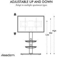 """Leadzm TSG003 32-65"""" Corner Floor TV Stand with Swivel Bracket 3-Tier Tempered Glass Shelves"""