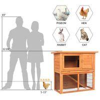"""36"""" Waterproof 2 Tiers Pet Rabbit Hutch Chiken Coop Cage Hen House Wood Color"""