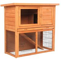 """Waterproof 36"""" 2 Tiers Pet Rabbit Hutch Chiken Coop Cage Hen House Wood Color"""
