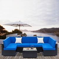 Fully Equipped Weaving Garden Furniture Rattan Sofa Set with 2pcs Corner Sofas & 4pcs Single Sofas & 1 pcs Coffee Table Black Embossed - Woven Rattan