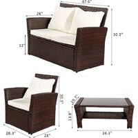 4 Seaters Rattan Garden Sofa Furniture Sets Patio Conservatory Armchairs Table wish Cushion - Brown