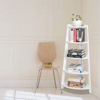 5 Tier Corner Shelf Stand Wood Display Storage Home Furniture White