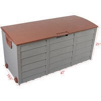 75gal 260L Outdoor Garden Plastic Storage Deck Box Chest Tools Cushions Toys Lockable Seat - Brown