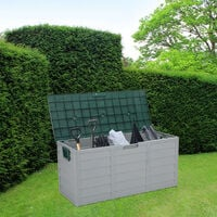 75gal 260L Outdoor Garden Plastic Storage Deck Box Chest Tools Cushions Toys Lockable Seat - Green