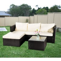 3-piece Garden Rattan Furniture Set Conjoined Sofa Pedal Coffee Table-Black