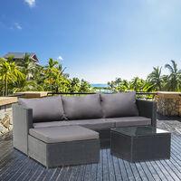 3-Seater 1-Piece Garden Furniture Sofa Pedal Set Coffee Table Dark Gray Cushion-Black
