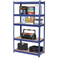 5 Tiers Heavy Duty Metal Garage Shelving Unit Shed Storage Shelves Boltless Shelf Rack Blue