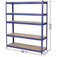 5-Tire Heavy Duty Storage Shelves Metal Garage Shelving Unit Shed Boltless Shelf Rack Blue