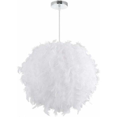 Lustre Suspension en Plumes 30 cm E27 40W Blanc